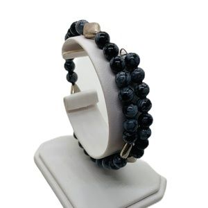 Black and silver memory wire bracelet